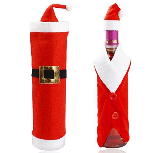 Yalatan Santa Claus Kostüm Stil Weinflaschenbeuteltasche Weihnachten Elf Candy Bag Santa Candy Socken Elf Flasche Tasche Weinflasche Verpackung
