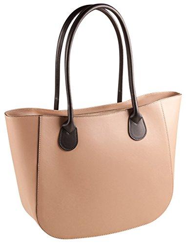 PELLE ITALY Leder Schultertasche PI10087 Damen Handtasche Echt Leder 38x27x11 cm (BxHxT), Farbe:Camel Taupe