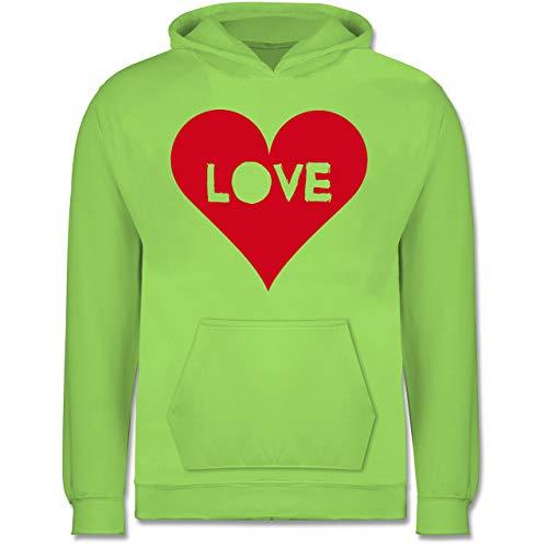 (Shirtracer Anlässe Kinder - Herz - Love - 7-8 Jahre (128) - Limonengrün - JH001K - Kinder Hoodie)