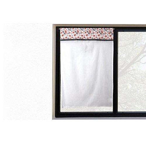 Tendina a vetro ricamata in cotone 45x90 cm ROSE diSoleil d'Ocre