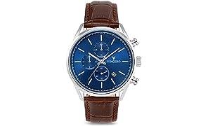 Vincero Luxury Men's Chrono S Wrist Watch - Top Grain Italian Leather Watch Band - 40mm Chronograph Watch - Japanese Quartz Movement (Blue/Brown)
