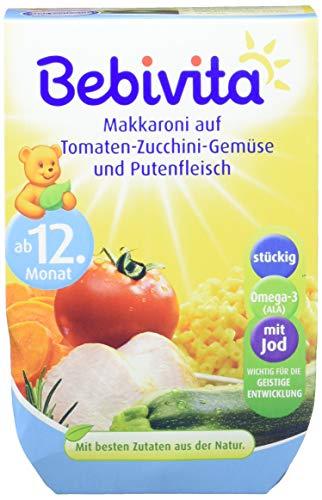Bebivita Makkaroni auf Tomaten-Zucchini-Gemüse und Putenfleisch, 4er Pack (4 x 2 x 250 g)