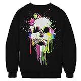 UJUNAOR Herrenmode Winter 3D-bedrucktes langärmliges Ugly Sweatshirt Halloween Tops Unisex 3D Druck Hoodie Drawstring Taschen Long Sleeve Sweatshirt
