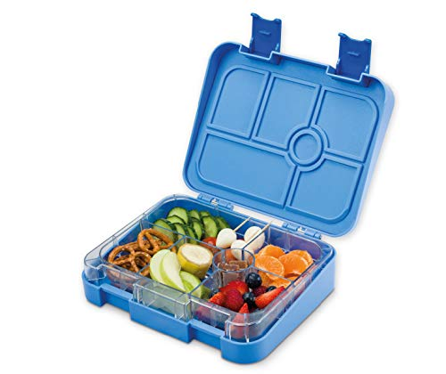 schmatzfatz Vesperbox/Bento Box/Lunchbox für Kinder mit 6 Fächern, robust und auslaufsicher (Blau)