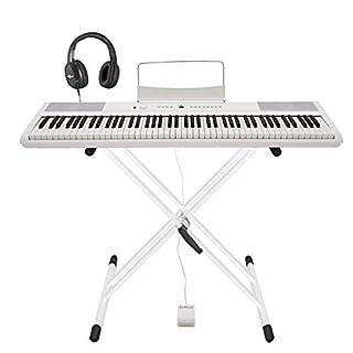 SDP-2 Stage Piano von Gear4music mit Ständer Pedal und Kopfhörer weiß