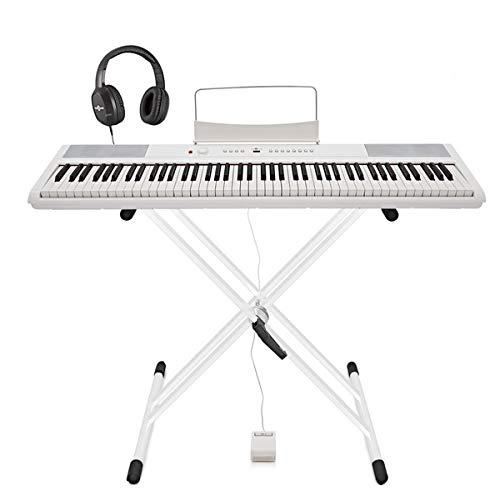 SDP-2 Stage Piano di Gear4music + Stand Pedale e Cuffie Bianco