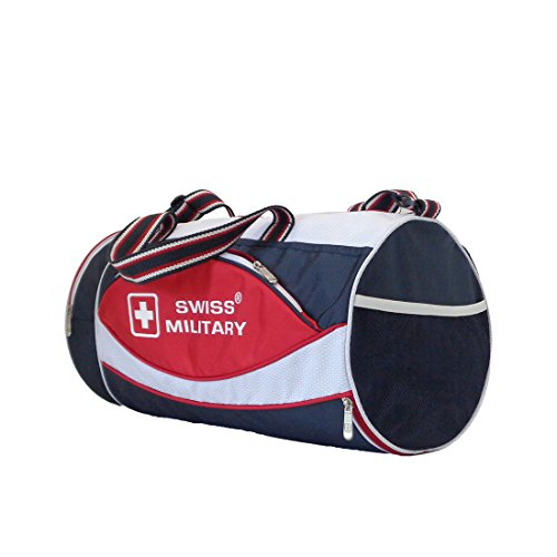 Swiss Military Polyester 26.5 cms Blue and White Sports Duffel (OC2)