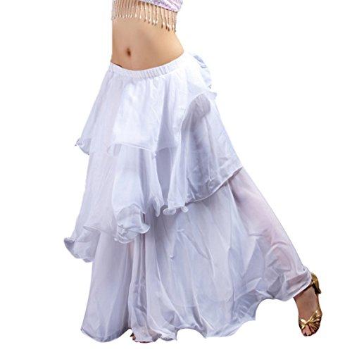 Frauen Bauch Tanz Lange Rock Chiffon Gestuft Maxi Rock Kleid, damen, weiß - Chiffon-bauch-tanzen