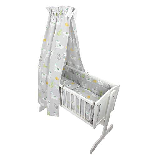 TupTam Unisex Baby Wiegen-Bettwäsche-Set 6-TLG, Farbe: Lama Grau, Anzahl der Teile:: 6 TLG. Set
