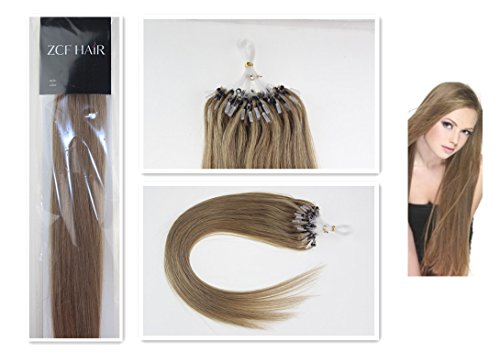 Style 16'' Easy Loops Micro Rings Beads Tipped 100% Real Human Hair Extensions Straight Hair Color 16 Ash Blonde Beauty Design Salon by COOL-BEAUTY
