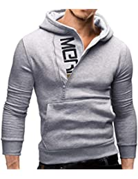 Manadlian Herren Hoodie Reißverschluss mit Tasche, Lange Ärmel Kapuzenpullover Schwarz Jacke Sweatshirt Oberteile Mantel Grau Outwear für Männer
