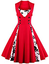 Babyonlinedress Robe de Soirée/Bal Courte Rétro Vintage Impression année 1950 Style Audrey Hepburn Rockabilly Swing sans manche avec Boutons Grande Taille