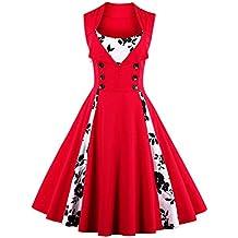 7a7a02051 Babyonline - Vestido - Trapecio - Floral - Cuello Redondo - Sin Mangas - 95  DEN