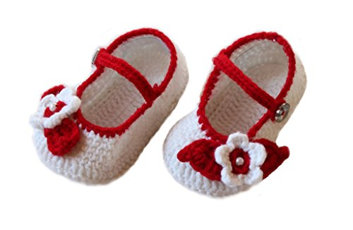 Cross Knitt 12 - 18 Months Red and White Woolen Baby Booties