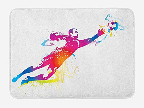 tgyew Soccer Bath Mat, Goalkeeper Catches The Ball Goal Star Training International Game Artsy Spray Design, Plush Bathroom Decor Mat with Non Slip Backing, 23.6 W X 15.7 W Inches, Multicolor -