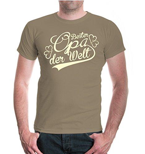 buXsbaum® T-Shirt Bester Opa der Welt Khaki-Beige