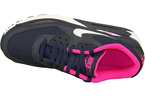 Nike Air Max 90 Mesh (Gs), Chaussures de Running Entrainement Fille, Bleu Noir / Argent / Rose / Blanc (Obsdn / Pr Pltnm-Hypr Pnk-Blanc)