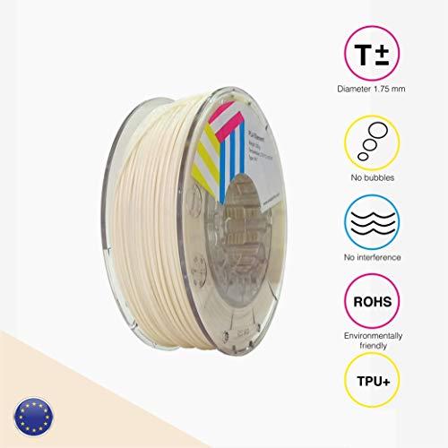 EOLAS Filamento flexible 3D 100% TPU+ 1.75mm, Made in Spain, Food safe, Toys safe Certified (Beige, 250 gr)
