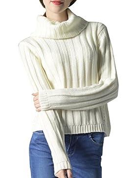 ELLAZHU Moda mujer Turndown Clooar mangas largas suéter superior YY55 Blanco M