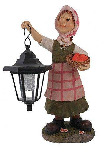 Grand-mère Edeltraud avec lanterne solaire jardin figurine Figurine Europe Lanterne solaire jardin