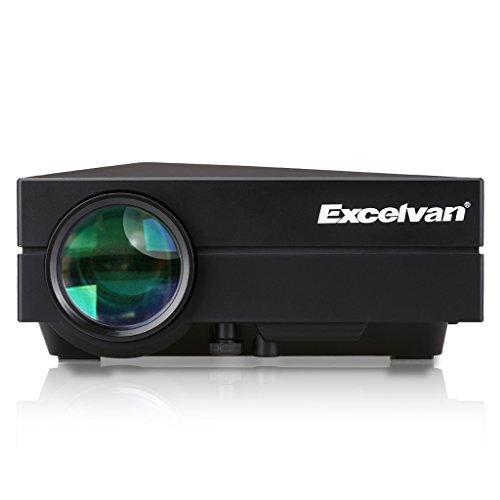 Excelvan GM60 Mini Projecteur VidéoProjecteur Portable Multimédia Théâtre Maison LED 800 * 480 1000 Lumens(80 ANSI Lumens)Home Cinéma HDMI USB AV VGA SD- Noir