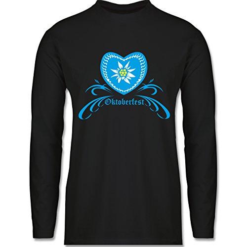Oktoberfest Herren - Oktoberfest - Herz mit Edelweiss - Longsleeve / langärmeliges T-Shirt für Herren Schwarz