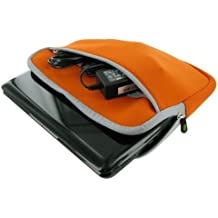 rooCASE Neoprene Netbook Sleeve Case Cover for ASUS Eee PC T101MT-BU27-BK 10.1-Inch Convertible Tablet Black (Invisible Zipper Dual-Pocket - Orange) by rooCASE