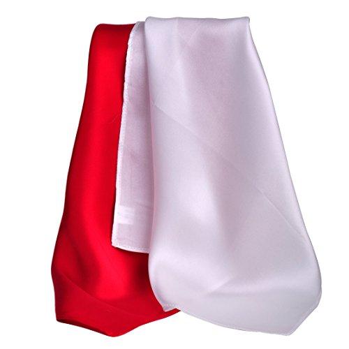 ciciTree Men Square de Poche en Soie,35x35cm Mouchoir Ensemble de Mariage Set 7 Rouge & blanc