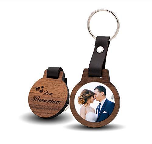 CHRISCK design Schlüsselanhänger mit Gravur und Foto Geschenkidee kratzfester Fotodruck! Geschenk für Paare, Freundinnen , Geschwister, Mama und Papa