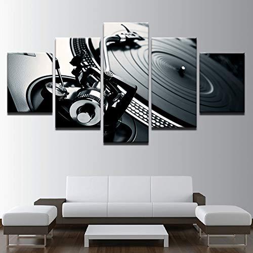 Home Bar Konsole (WOKCL Leinwanddruck Leinwand Bilder Home Wandkunst Dekor 5 Stück Musik Dj Konsole Instrument Malerei Nachtclub Von Wandbild Bar Druckt Poster, Kein Rahmen)