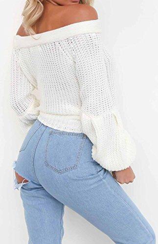 BLACKMYTH Femme Bustier Pulls Tricot Manchon Lanterne Casual Chandail Sweater Blanc
