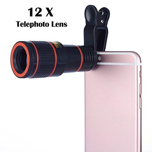 Galleria fotografica Phone camera Lens kit, Amazing 12x Zoom ottico universale Marco Lens messa a fuoco del telescopio obiettivo della fotocamera con clip universale per iPhone 7/7Plus/6s/6/6Plus/6s Plus/5S/Samsung Galaxy S8/S8Plus/S7/s