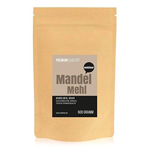 Image of Wohltuer Premium Mandelmehl 600g - Glutenfrei, Cholesterinfrei, Nährstoffreich - Low Carb Food (5,7g auf 100g!) - Vegetarisch und Vegan - vielseitiges Lebensmittel in geprüfter Premium-Qualität