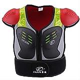 Armor Qtrees Gilet Professionale per Bambini, per Proteggere Il Petto e la Schiena e Le Spalle, per Motociclismo, Equitazione, Ciclismo, Skateboard, Sci, Red&Black, M