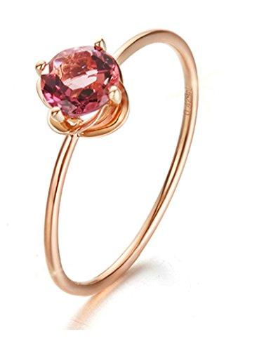 Aienid Jubiläumsring Hochzeitsring Verlobungsring 18K Gold Ring Für Frauen Runde Floral Side Rose Gold Wahrer Liebesring Größe 47 (15.0)