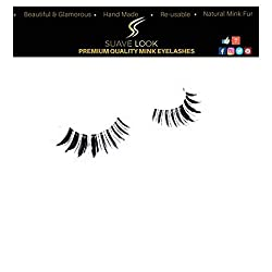 SuaveLook Exclusive Super Soft Premium Fiber False Eyelashes 100% Hand-made Lashes 1 Pair Package| Invisible Base [Model A1]
