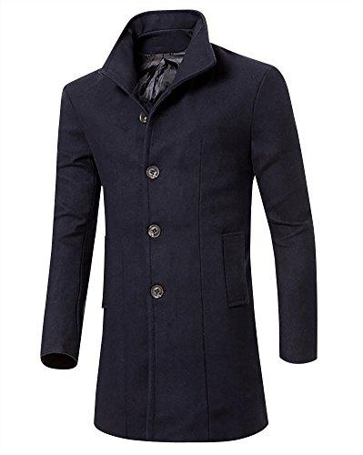 Uomo classico sottile giacca trench caloroso cappotto invernale cappotto di lana marina militare l