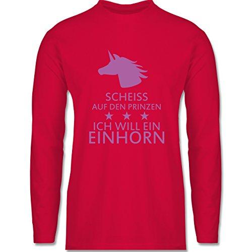 Nerds & Geeks - Einhorn - Scheiss auf den Prinzen ich will ein Einhorn - Longsleeve / langärmeliges T-Shirt für Herren Rot