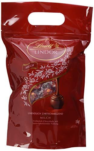 Lindt Lindor Beutel Vollmilch, gefüllt mit einzeln verpackten Lindor Kugeln mit einer zartschmelzenden Füllung, 1er Pack (1 x 1kg)