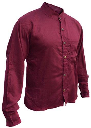 Little Kathmandu Baumwoll Männer Knopf unten Plain Sommer Hemden Maroon