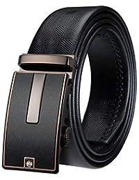 Dubulle Leather Mens Black Belt Italian Genuine Leather Ratchet Belt Automatic Buckle Luxury Sliding Belt