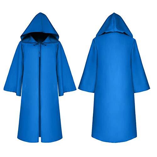 Wizard Devil Es Cloak Robe Ritter Gothic Fancy Kleid up Halloween Masquerade Cosplay Kostüm Cape,Blue (Halloween-kostüm Robe Wizard)