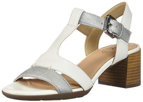 Geox D Marykarmen Mid Sandal F, Punta Aperta Donna, Bianco (White/Silver C0007), 38 EU