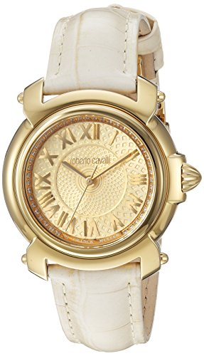 Roberto Cavalli by Franck Muller Women's Swiss Quartz Stainless Steel and Leather Casual Watch, Color:Champagne (Model: RV1L005L0016)