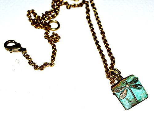 Klein Patina Libelle Anhänger-Antik Gold Kette -