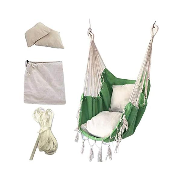 succeedw Swing Hanging Chair with Cushion Tied Rope Canvas Swing Chair Seat for Children Adult Student Dormitory Courtyard succeedw Extra Cosy Swing: Hammock swing chair is handcrafted from soft and durable polyester cotton ropes and canvas fabric, and it protects from outdoor elements and ensures years of enjoyment. Easy to Install: The length of the hammock is 130cm / 51in, which can be easily moved anytime, anywhere, and the load bearing weight is 120kg /265 pound, suitable for adults and children. Comfortable Cushion: This hammock chair with cushions is uniquely designed, will be perfect for relaxing with the hammock chair in your patio, yard, garden, deck. You won't feel tired for no matter how long you sit in it. In this way, you can meditate, take a nap in it comfortably. 2