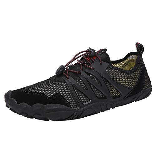 Fenverk Herren Aquaschuhe Strandschuhe Atmungsaktives Outdoor Hiking Trekking Schuhe Schnell Trocknend Mesh Wasserschuhe Wanderschuhe Turnschuhe Sneakers 35-47(Schwarz,39 EU) -