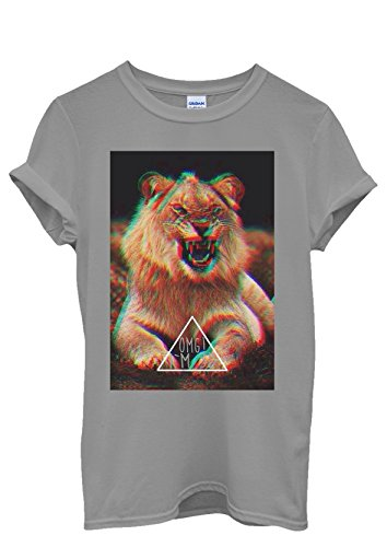 OMG I Am 3D Lion Triangle Funny Men Women Damen Herren Unisex Top T Shirt Grau