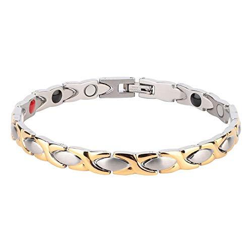 Magnetische Armband, Titan Magnetfeldtherapie Armband, Einstellbar Titan Stahl Mode Stahl Magnetic Bangle Germanium Negative Ion Schmerzlinderung für Arthritis