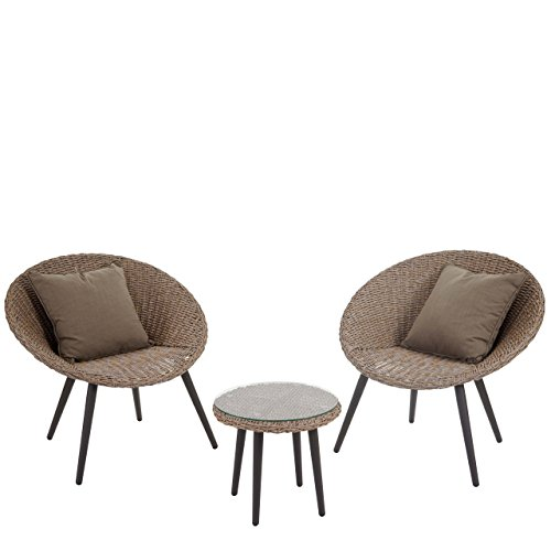 Luxus Poly-Rattan-Garnitur Madrid, Premium Lounge-Set Gartengarnitur, Alu-Gestell ~ braun